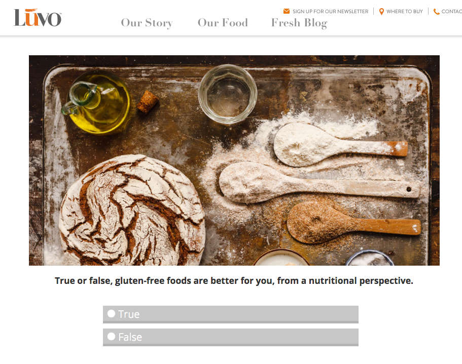 Gluten Free Quiz Luvo Inc powered by Quiz by Tradable Bits